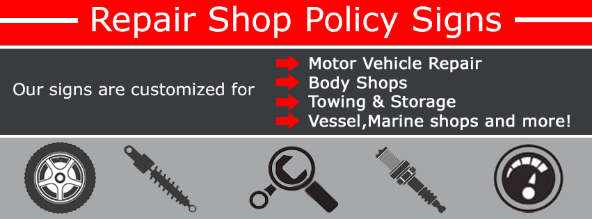 Automotive service signs for Motor vehicle lien search