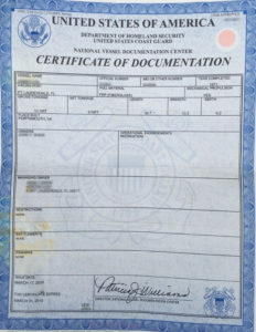 Certificate of Documentaion does not show maritime lien